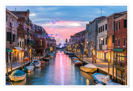 Póster Canal in Venice at Christmas