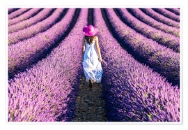 Póster Girl in a lavender field