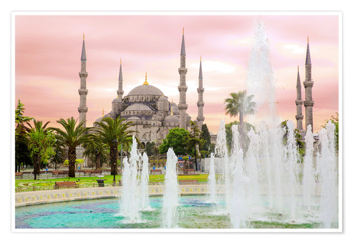 Póster the blue mosque (magi cami) in Istanbul / Turkey (vintage picture)