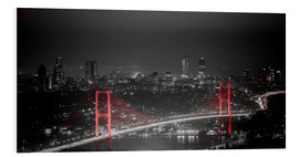 Cuadro de PVC  Bosporus-Bridge at night - color key red (Istanbul / Turkey) - gn fotografie