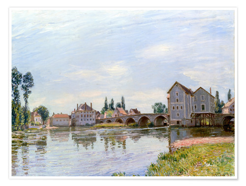 Póster River and Bridge, Moret