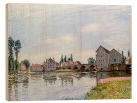 Cuadro de madera  River and Bridge, Moret - Alfred Sisley