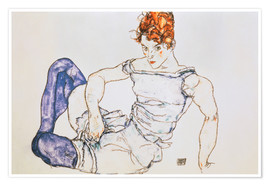 Póster Seated Woman with violet stockings
