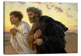 Lienzo  Morning of the resurrection, Peter and John on their way to the grave - Eugene Burnand