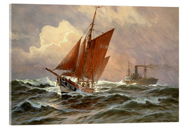 Metacrilato  Sailors and steamboat on the North Sea - Willy Stöwer