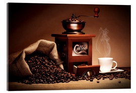 Cuadro de metacrilato  Coffee grinder with beans and cup - pixelliebe