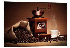 Cuadro de PVC  Coffee grinder with beans and cup - pixelliebe