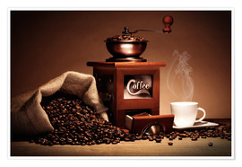 Póster Coffee grinder with beans and cup