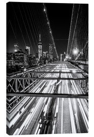 Lienzo  Traffic on Brooklyn Bridge - NYC (monochrome) - Sascha Kilmer