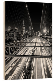 Cuadro de madera  Traffic on Brooklyn Bridge - NYC (monochrome) - Sascha Kilmer