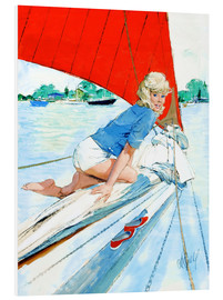 Cuadro de PVC  Blonde Pin Up on Sailboat - Al Buell