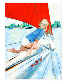 Póster Blonde Pin Up on Sailboat