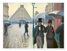 Póster  Calle parisina, día lluvioso - Gustave Caillebotte