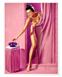 Póster  Brunette in Shower - Al Buell