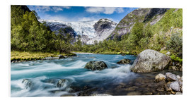 Cuadro de PVC  Norwegian Wilderness - mountain stream and glaciers - Sascha Kilmer