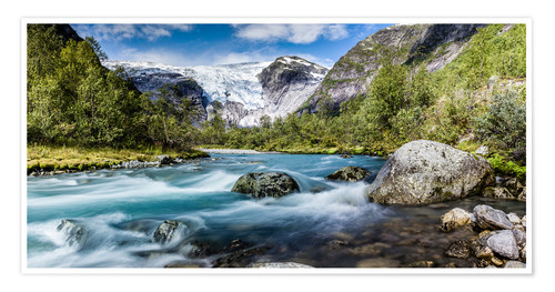 Póster Norwegian Wilderness - mountain stream and glaciers