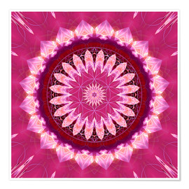 Póster  Mandala pinkblossom with flower of life - Christine Bässler