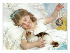 Póster  Little girl with kitten - Emile Munier
