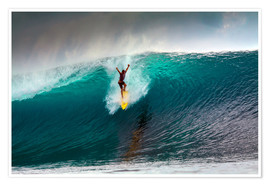 Póster Extreme surfing huge wave - Mentawai Islands