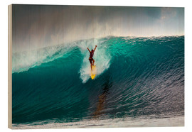 Cuadro de madera  Extreme surfing huge wave - Mentawai Islands - Paul Kennedy