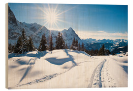 Cuadro de madera  Winter scenery at Grindelwald - Peter Wey