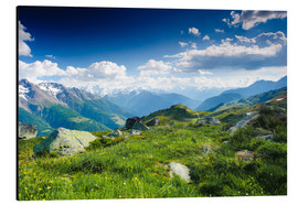 Cuadro de aluminio  Mountain panorama from Fiescheralp, Switzerland - Peter Wey
