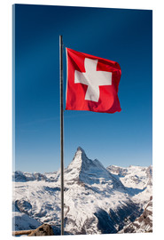 Cuadro de metacrilato  Matterhorn with swiss flag. Zermatt, Switzerland. - Peter Wey