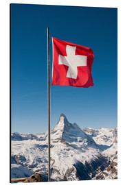 Cuadro de aluminio  Matterhorn with swiss flag. Zermatt, Switzerland. - Peter Wey