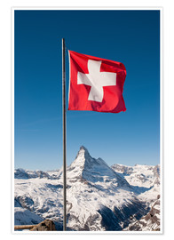 Póster  Matterhorn with swiss flag. Zermatt, Switzerland. - Peter Wey