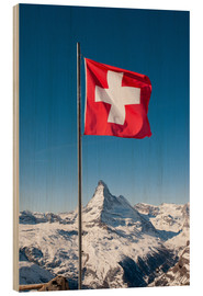 Cuadro de madera  Matterhorn with swiss flag. Zermatt, Switzerland. - Peter Wey