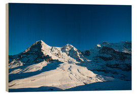 Cuadro de madera  Panoramic view from Lauberhorn with Eiger Mönch and Jungfrau mountain peak - Peter Wey