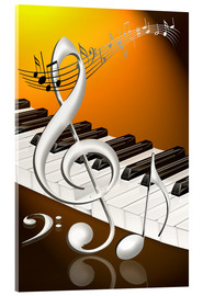 Cuadro de metacrilato  dancing notes with clef and piano keyboard - Kalle60