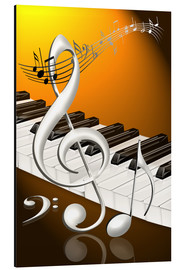 Cuadro de aluminio  dancing notes with clef and piano keyboard - Kalle60