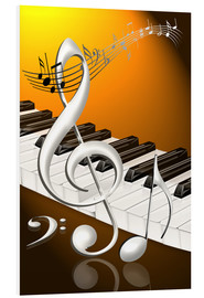 Cuadro de PVC  dancing notes with clef and piano keyboard - Kalle60