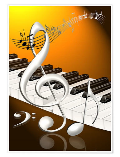 Póster dancing notes with clef and piano keyboard