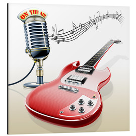 Cuadro de aluminio  Electric guitar with microphone and music notes - Kalle60