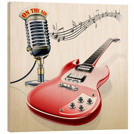 Cuadro de madera  Electric guitar with microphone and music notes - Kalle60