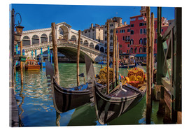 Cuadro de metacrilato  Venice Gondola at Rialto bridge - FineArt Panorama