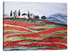 Lienzo  Flowering/Blooming Tuscany (Val d'Orcia, Chapel of Vitaleta) - Christine Huwer