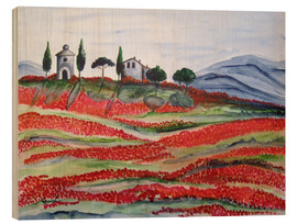 Cuadro de madera  Flowering/Blooming Tuscany (Val d'Orcia, Chapel of Vitaleta) - Christine Huwer