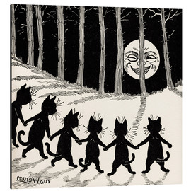 Aluminio-Dibond  Cats at full moon - Louis Wain