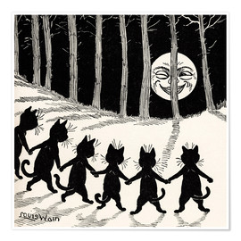 Póster  Cats at full moon - Louis Wain