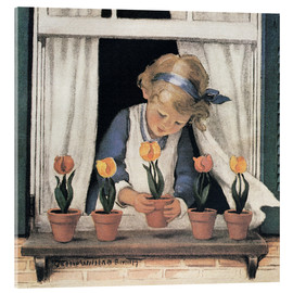 Cuadro de metacrilato  Tulipanes en la ventana - Jessie Willcox Smith