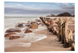 Cuadro de PVC  Groyne and stones on shore of the Baltic Sea - Rico Ködder