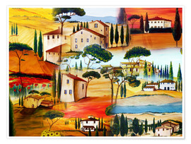 Póster  Tuscany Collage - Christine Huwer