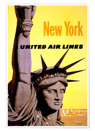 Póster  New York United Air Lines - Travel Collection