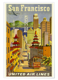 Póster  San Francisco United Airlines - Travel Collection