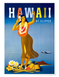 Póster  Hawaii by Clipper vintage travel - Travel Collection