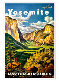 Póster  Yosemite United Air Lines - Travel Collection