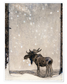 Póster  Elk in the Snow - John Bauer